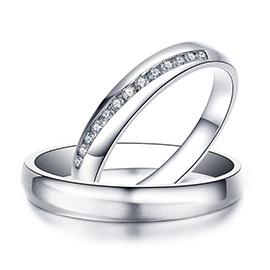米兰钻石 白18K金钻石戒指情侣对戒结婚对戒 此刻系列