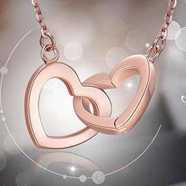 米兰钻石 18K金项链 女 黄金玫瑰金锁骨链 双心吊坠套链