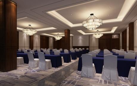 9F嘉瑞厅 [ 最大25桌 · 高5.5m · 4个柱子 · 长方形 · 低消1799 ]