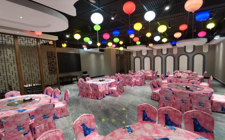 庐州厅(宝宝宴主题) [ 最大10桌 · 高5.0m · 无柱 · 长方形 · 低消1398 ]