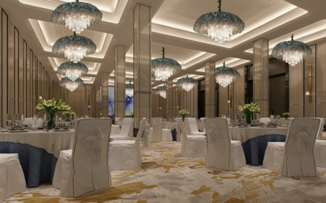 9F嘉华厅 [ 最大45桌 · 高5.5m · 5个柱子 · 长方形 · 低消1799 ]