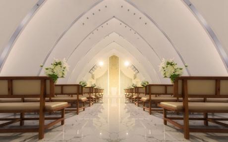 1F 欧登塞证婚仪式堂 [ 最大10桌 · 高0.0m · 无柱 · 不规则 · 低消2399 ]