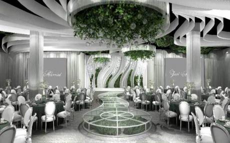 玫瑰里  3F [ 最大26桌 · 高5.5m · 无柱 · 长方形 · 低消1599 ]